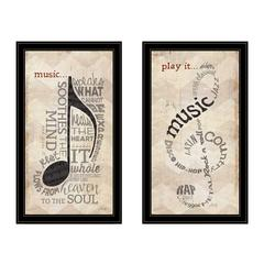 """Music"" Collection 2-Piece Vignette By Marla Rae, Black Frame"