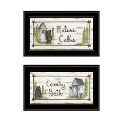 """Nature Calls"" 2-Piece Vignette by Mary June, Black Frame"