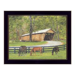 """Old Covered Bridge"" By Ed Wargo, Printed Wall Art, Ready To Hang, Black Frame"
