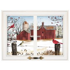 """Winter Friends"" by Billy Jacobs, Framed Print, White Window-Style Frame"