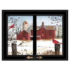 """Winter Friends"" by Billy Jacobs, Framed Print, Black Window-Style Frame"