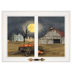 """Harvest Moon"" by Billy Jacobs, Framed Print, White Window-Style Frame"