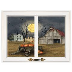 """Spooky Harvest Moon"" by Billy Jacobs, Framed Print, White Window-Style Frame"