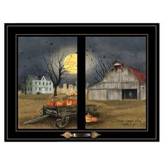 """Spooky Harvest Moon"" by Billy Jacobs, Framed Print, Black Window-Style Frame"
