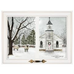 """I Heard the Bells on Christmas Day"" by Billy Jacobs, White Window-Style Frame"