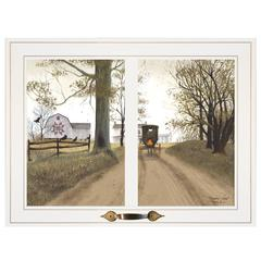 """Heading Home"" by Billy Jacobs, Framed Print, White Window-Style Frame"