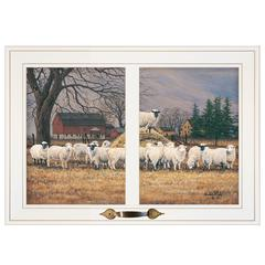 """Wool Gathering"" by Bonnie Mohr, Framed Print, White Window-Style Frame"