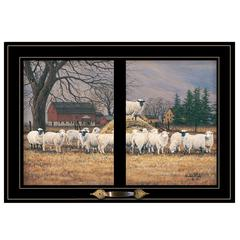"""Wool Gathering"" by Bonnie Mohr, Framed Print, Black Window-Style Frame"