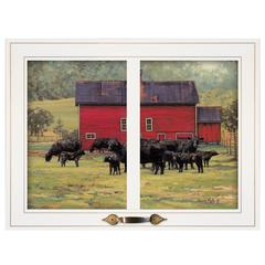 """By the Red Barn (Herd of Angus)"" by Bonnie Mohr, White Window-Style Frame"