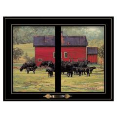 """By the Red Barn (Herd of Angus)"" by Bonnie Mohr, Black Window-Style Frame"