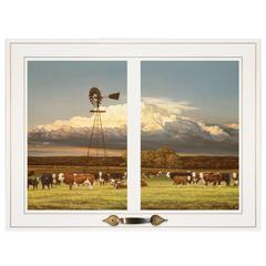 """Summer Pastures"" by Bonnie Mohr, Framed Print, White Window-Style Frame"