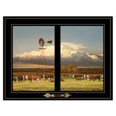 """Summer Pastures"" by Bonnie Mohr, Framed Print, Black Window-Style Frame"