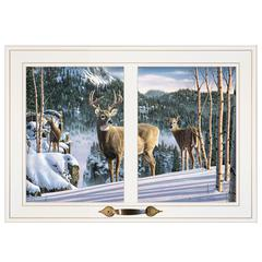 """Morning View Deer"" by Kim Norlien, Framed Print, White Window-Style Frame"