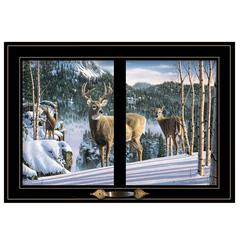 """Morning View Deer"" by Kim Norlien, Framed Print, Black Window-Style Frame"