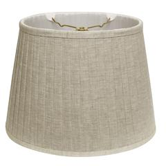 Slant Linen Oval Side Pleat Softback Lampshade with Washer Fitter, Oatmeal