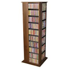 Revolving Media Tower Molded, 22-3/4 x 22-3/4 x 63, Walnut/Black