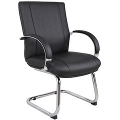 Aaria Collection Elektra Guest Chair/ Chrome Finish/ Black Upholstery