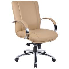 Aaria Collection Elektra Mid Back Executive Chair / Chrome Finish / Tan Upholstery/ Knee Tilt