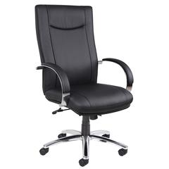 Aaria Collection Elektra High Back Executive Chair / Chrome Finish / Black Upholstery