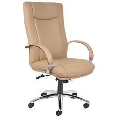 Aaria Collection Elektra High Back Executive Chair / Chrome Finish / Tan Upholstery
