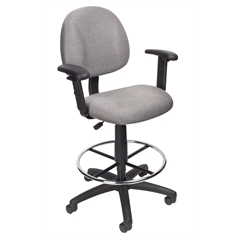Boss Drafting Stool (B315-Gy) W/Footring And Adjustable Arms