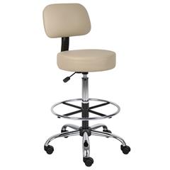 Boss Caressoft Medical/Drafting Stool W/ Back Cushion