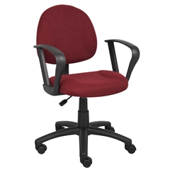 Boss Burgundy  Deluxe Posture Chair W/ Loop Arms