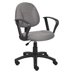 Boss Grey  Deluxe Posture Chair W/ Loop Arms