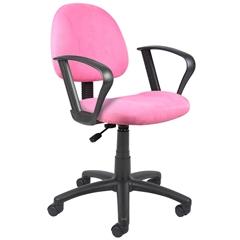 Boss Pink Microfiber Deluxe Posture Chair W/ Loop Arms.
