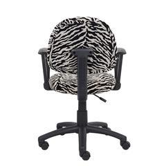 Boss Zebra Print Microfiber Deluxe Posture Chair W/ Loop Arms.
