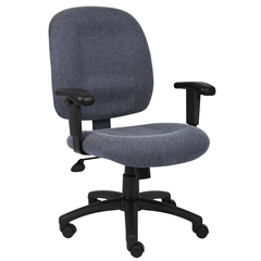 Boss Skyblue Fabric Task Chair W/ Adjustable Arms