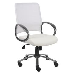 Boss White Mesh Back W/ Pewter Finish Task Chair