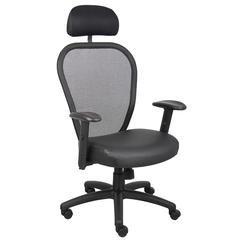 Boss Professional Managers Mesh Chair  W/ Leather Seat