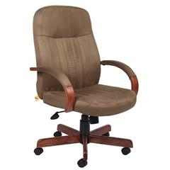 Boss Microfiber Exec. Chair W/ Dark Oak Finish