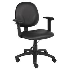 Boss Diamond Task Chair In Black Caressoft W/ Adjustable Arms