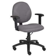 Boss Diamond Task Chair In Grey W/ Adjustable Arms