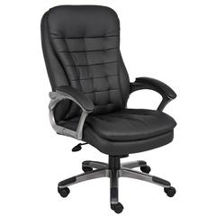 Boss High Back Executive Chair With Pewter Finished Base/Arms