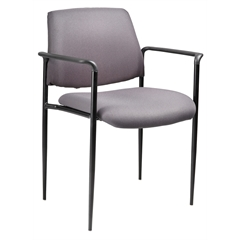Boss Square Back  Diamond Stacking Chair W/Arm In Grey