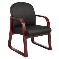 Boss Mahogany Frame Side Chair In Black Fabric