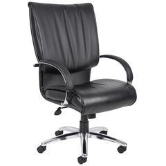 Boss High Back Black Leatherplus Executive Chair W/ Chrome Base & Arms