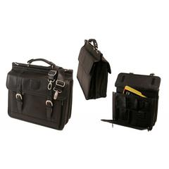Stebco Black Premium Soft Leather Laptop Briefcase by Stebco