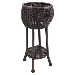 Round Resin Wicker Plant Stand