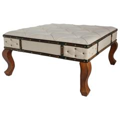 Large Square Tufted Fabric Bench/Table