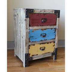 Vintage Antique Replica Multi Color Three Drawer Lamp Table