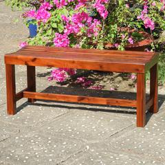 Highland Acacia Americana 42-inch Backless Bench with Contoured Seat