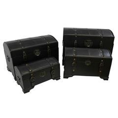 4-Piece Faux Leather Trunk Set