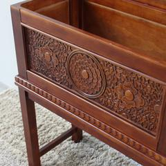 Windsor Carved Wood  Trunk on Stand