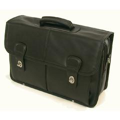 Top Grain Leather Computer Briefcase in Black by