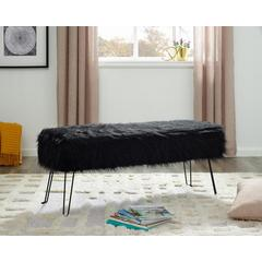 LILOLA Laverne Black Polyester Fabric Bench