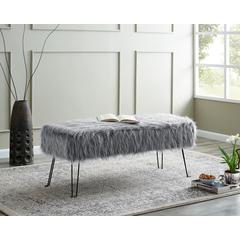LILOLA Laverne Smokey Gray Polyester Fabric Bench